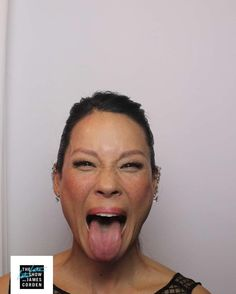 Lucy Liu posing in the photo booth on The Late Late Show with James Corden. (22/09/2016)