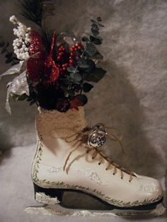Christmas Ice Skate Decorated Skate by SweetpeaShabbyChicCr, $42.00