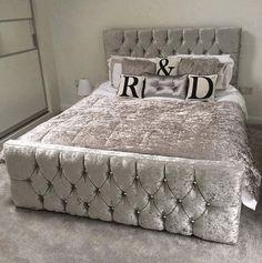 Monaco Crushed Velvet Bed - Mirrored furniture - Sparkle Diamond - House of Sparkles Room Decor Bedroom, Home Bedroom, Silver Bedroom Decor, Bedrooms, Master Bedroom, Luxury Furniture, Bedroom Furniture, Mirrored Furniture, Furniture Nyc
