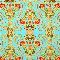 Michael Miller Material | turquoise Michael Miller fabric with flowers and hearts
