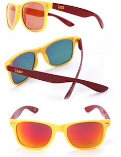 SHADY PEEPS LLC : Arizona State University Sunglasses - Gold w/ Red : Sun Devil Campus Stores