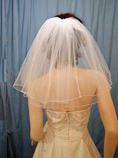 Shoulder length Flyaway bridal veil  Diamond by BellaBridalVeils, $39.00