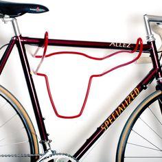 Bull shaped bike rack in red