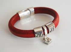 Red Licorice Leather BraceletBangle bracelet by ferozasjewelery, $40.00