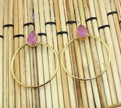Zj8136 Halloween Sale Pink Monalisa 24k Gold Plated New Fashion Earring Jewelry  #Handmade #DropDangle