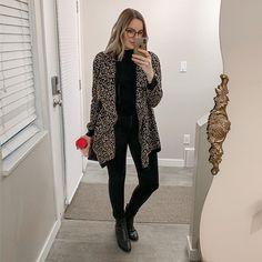 All black with a splash of leopard Fall Outfits, Summer Outfits, Casual Outfits, Cute Outfits, Fashion Outfits, Womens Fashion, Cold Weather Outfits, Office Fashion, All Black