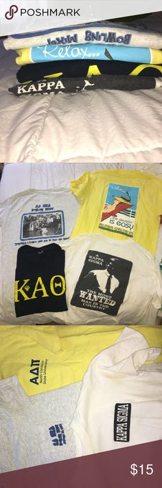 Four fraternity / sorority T shirts Lot of four fraternity and sorority T-shirts, never wear them anymore almost perfect condition Tops Tees - Short Sleeve