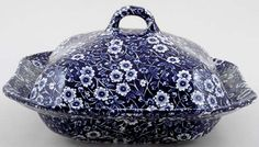 Burleigh Blue Calico Vegetable Dish with Cover