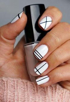 Chic black & white designs-One shown would also be pretty on baby pastel colored nails: soft pink, lilac/lavender, modern purple. Few other designs on page that are cool 2.