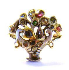 Georgian 18th Century Giardinetti Flower Basket 17 Stone Ring Very RARE | eBay