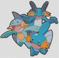Pokemon Mudkip Evolutions (75 Colors) Cross Stitch Pattern
