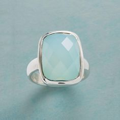 HAPPY DAYS RING--Harlequin facets impart an extra note of happiness to our dome of blue chalcedony. A sterling silver exclusive. Whole sizes 6 to 9.