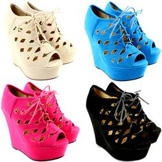 CUT OUT WEDGE HEEL PLATFORM LACE UP SUEDE ANKLE SHOE BOOTS