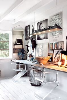 Love the worn color on the reclaimed wood desk.   Perfect extra long desk for two-- just what I'm looking for.  Nice mix of rustic, industrial and classic black and white art.