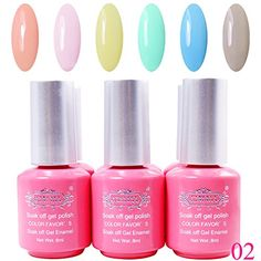 Perfectsummer 6pcs Mixed Color UV Gel Polish Soak Off Nail Art 8mlpc * For more information, visit image link.Note:It is affiliate link to Amazon.