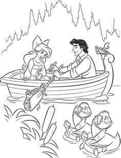 Romantic Date From Eric To Ariel Coloring Page