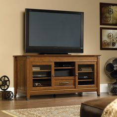 Sauder Carson Forge Washington Cherry Entertainment Credenza For Tvs Up To 60""
