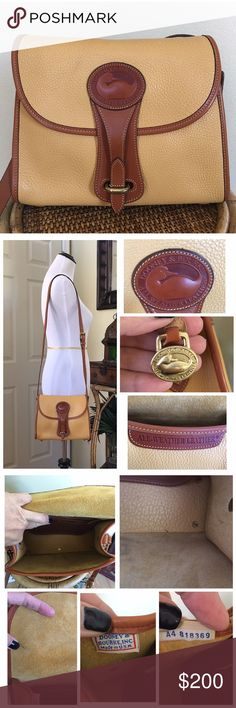 """VINTAGE DOONEY AND BOURKE ESSEX BAG (RARE COLOR) Gorgeous Essex bag in Palomino & British tan.  Excellent condition.  There are a few dark spots in bottom interior and a small pen mark on interior flap.  Very minimal wear to the bottom piping. Normal wear to the hardware. 1 interior zip pocket, 1 exterior flap pocket. (SEE ALL PICS) MEASUREMENTS ARE APPROXIMATE- 8.0"""" H X 10.25"""" L X 4.5"""" D Strap Drop Length: (shoulder-crossbody) adjustable 19"""" to 22"""" (adjustable & detachable strap) TRADES…"""