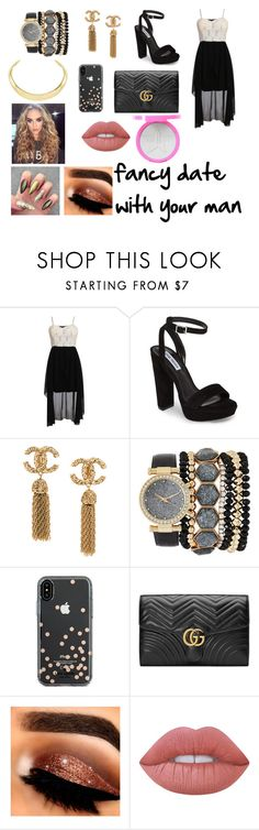 """""""Fancy date with your man"""" by georgielou1834 on Polyvore featuring Pilot, Steve Madden, Jessica Carlyle, Kate Spade, Gucci, Lime Crime and Jeffree Star"""