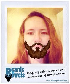 Here's Becki with her beardy look for #BeardsforBowels