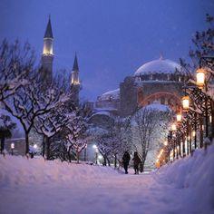 Hagia Sophia! Hagia Sophia Istanbul, Winter Wallpaper, Winter Snow, Aesthetic Wallpapers, Taj Mahal, Building, Travel, Outdoor, Religion