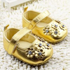 ccc8c09fdde First Walkers Baby Shoes Gold Flower Stone Decor Ballerina Flats Girl's  Birthday Gift First Year Velcro