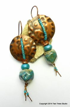 Lovely earrings designed by Meridy Migchelbrink!   Beads by Kimberly Rogers  Copper pieces from my Metapolies store!