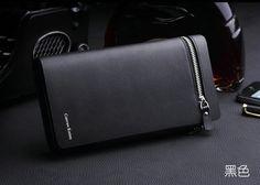 Zipper Purse Leather Long Wallet