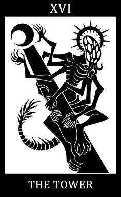 Bloodborne fanart, Bloodborne Tarot Cards.  •         XVI - The Tower   - Amygdala