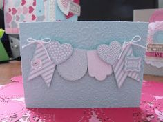 Today's card was made with the Hearts of Flutter bundle on pool party dsp.  I embossed the background with the lacey brocade embossi...