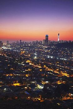 View of Johannesburg skyline at sunset, Gauteng, South Africa, Africa South Africa Travel Destinations Backpack Backpacking Vacation Africa Off the Beaten Path Budget Wanderlust Bucket List Draw Map, Johannesburg Skyline, Visit South Africa, Best Sunset, West Africa, Africa Travel, Dream Vacations, Travel Around The World, Places To See