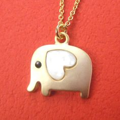 Small Elephant Animal Necklace in Gold with Heart- Must own!!