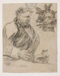 Goya – Aparicion que le abla. Mal Sueño, 1825-1828; Álbum de Burdeos I o Álbum G, 12; Lápiz negro y lápiz litográfico   Museo Nacional del Prado