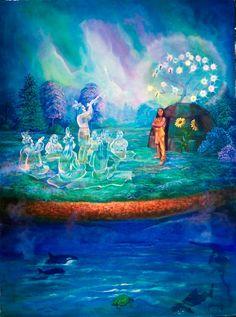 Sky Woman (White Buffalo Calf Woman) Iroquois Creation Myth Sky Woman and Turtle Creation Story. Asky world.JPG Artist MARCINE QUENZER