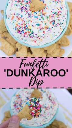 Dip Recipes 121175046213114779 - This delicious Funfetti 'Dunkaroo' Dip is made with only 4 ingredients and tastes exactly like the real Dunkaroo dip from back in the day! Source by cupcakeproject Dessert Dips, Köstliche Desserts, Delicious Desserts, Yummy Food, Tasty, 4th Of July Desserts, Healthy Dessert Recipes, Healthy Food, Dunkaroo Dip