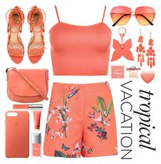 """""""Tropical Vacation  #2"""" by katie-longmore ❤ liked on Polyvore featuring Ted Baker, WearAll, Paula Cademartori, Mansur Gavriel, Apple, La Portegna, Christian Dior, Chloé, Chantecaille and Rodial"""