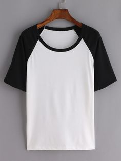 Online shopping for Contrast Raglan Sleeve Black White T-shirt from a great selection of women's fashion clothing & more at MakeMeChic.