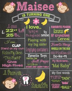 First Birthday Mod Monkey Chalkboard Printable Poster by RusticRosebudDesigns