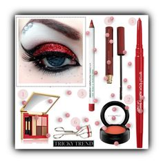 """""""Red sparkle"""" by lurve-music ❤ liked on Polyvore featuring beauty, Estée Lauder, Smashbox, MAC Cosmetics, Kevyn Aucoin and Obsessive Compulsive Cosmetics"""