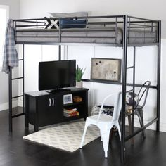 Loft bunk bed with desk. Stairs Full Size Black Metal Loft Bed Steampunksewingclub 11 Full Size Modern Loft Beds For Your Tiny Apartment Apartment Loft Bed Frame, Loft Bunk Beds, Modern Bunk Beds, Bunk Beds With Stairs, Modern Loft, Loft Bed Ikea, Queen Loft Beds, Cool Loft Beds, Bedroom Modern