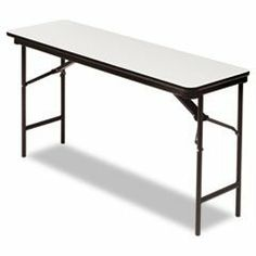 "Premium Wood Laminate Folding Table, Rectangular, 60w x 18d x 29h, Gra by Iceberg. $160.57. Wear-resistant, 3/4"" melamine-over-particle board top and melamine sealed underside. Full- length steel support skirt. Vinyl, T-molded edges. 1"" diameter, heavy gauge steel legs with heavy duty protective foot caps. Heavy duty leg supports and gravity leg lock for secure set-up. Four-piece steel apron with four plastic protective corners for safe stacking. Folds to 2 1/2"" for ..."