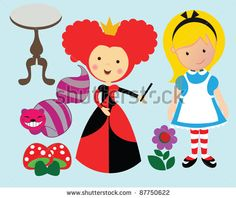 Alice in wonderland with a green background and the queen of hearts by Asmaa Murad, via ShutterStock