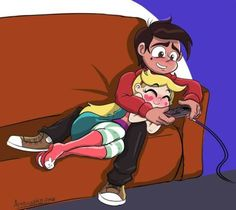 SVTFOE - Playing Nintendo on the couch. by byLisboa on DeviantArt Cute Cartoon Wallpapers, Cartoon Pics, Anime Couples, Cute Couples, Starco Comic, Little Poney, Animation, Star Butterfly, Couple Drawings