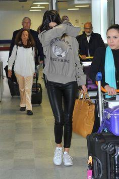 Kendall Jenner | long sleeve t-shirt + leather leggings + sneakers
