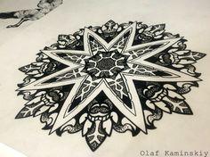 татуировка эскиз мандала геометрия blackwork linework dotwork