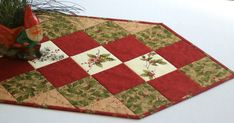 Quilted Table Runner Winter Table Topper Holly and Pines