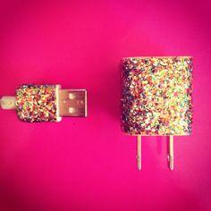 DIY glitter nail polish phone charger
