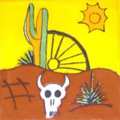 """Mexican tiles in """"Desert"""" style. Vintage with white, green and terra cotta talavera tile design over yellow background. Shipping from Mexico to the US and Canada is estimated for four weeks. Painting Ceramic Tiles, Mexican Ceramics, Bull Skulls, Mexican Designs, Pictures To Paint, Painting Pictures, Style Tile, China Painting, Step By Step Drawing"""