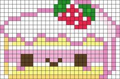 Kawaii Cake Perler Bead Pattern | Bead Sprites | Food Fuse Bead Patterns