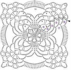 Transcendent Crochet a Solid Granny Square Ideas. Inconceivable Crochet a Solid Granny Square Ideas. Crochet Squares, Crochet Motif Patterns, Crochet Blocks, Granny Square Crochet Pattern, Crochet Chart, Thread Crochet, Crochet Designs, Crochet Granny, Crochet Tablecloth